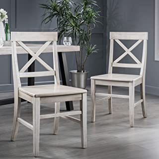 Christopher Knight Home Truda Farmhouse Finish Acacia Wood Dining Chairs, Light Grey Wash