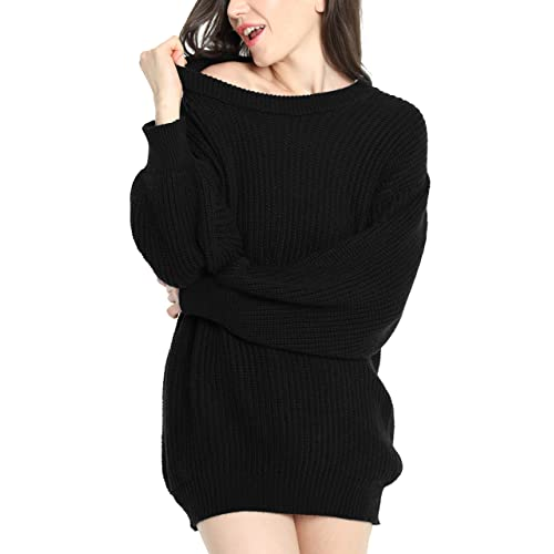 c91cf6def52 Liny Xin Women s Cashmere Oversized Loose Knitted Crew Neck Long Sleeve  Winter Warm Wool Pullover Long