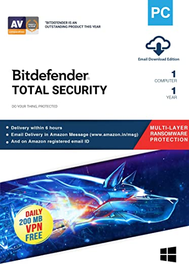 Bitdefender - 1 Computer,1 Year - Total Security | Windows | Latest Version | Email Delivery in 2 Hours- No CD | 1