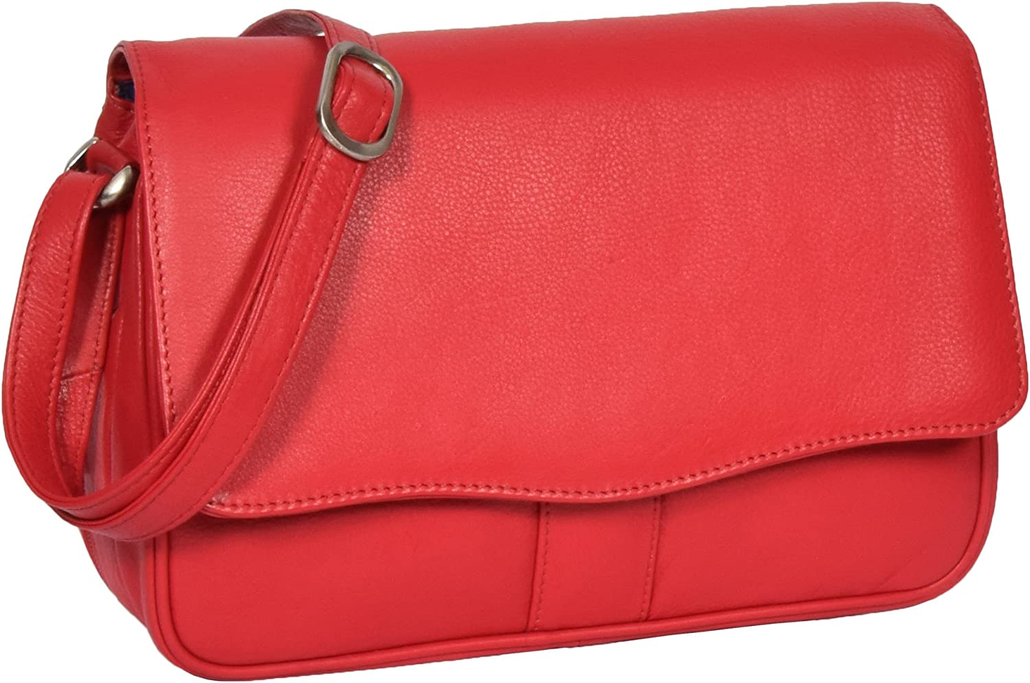 House of Leather Ladies Classic Shoulder Organiser Cross Body Messenger Bag Satchel Matilda Red