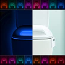 2 Pack LumiLux Advanced 16-Color Motion Sensor LED Toilet Bowl Night Light, Internal Memory, Light Detection, White