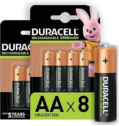Duracell Piles Rechargeables AA 2500 mAh idéales pour les manettes Xbox, lot de 8 piles [Amazon exclusive]