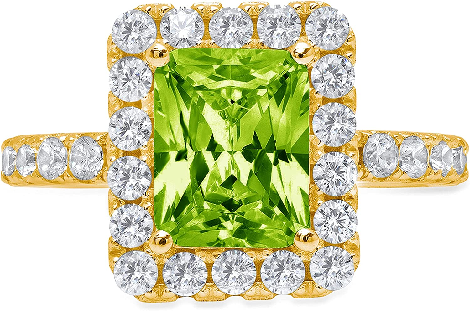 3.90ct Brilliant Emerald Cut Solitaire Accent Halo Genuine Flawless Natural Green Peridot Gemstone Engagement Promise Anniversary Bridal Wedding Ring Solid 18K Yellow Gold