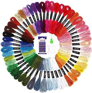 SOLEDI Stickgarn Embroidery Floss Multifarben Weicher Polyester Perfekt für Bracelets Stickerei Basteln Crafts Set Basteln Leisure Arts Kreuzstich,8m,6-fädig,Threads Nähgarne Häkeln 50 Farben