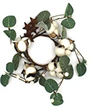 CVHOMEDECO. Primitives Rustic Cotton Pod Pip Berries and Eucalyptus Leaves with Rusty Barn Stars Wreath, 9-Inch