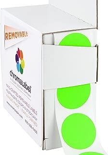 ChromaLabel 1 inch Removable Color-Code Dot Labels | 1,000/Dispenser Box (Fluorescent Green)