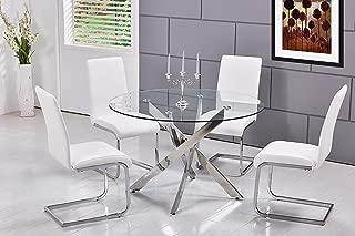 Best Master Furniture T01 Mirage 5 Pcs Glass Top Modern Dining Set, White