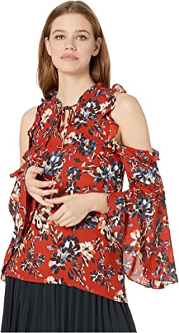 Off To The Market Floral Printed Crepe de Chine Top