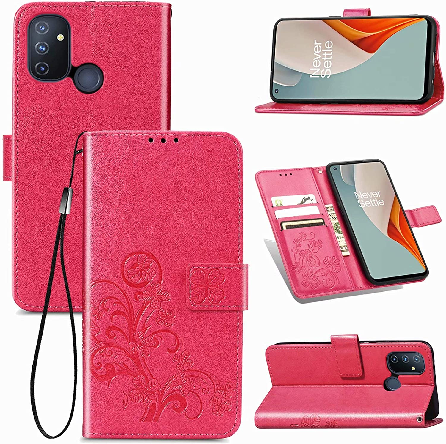 TOPOFU Case for OnePlus Nord N100 Kickstand and Book Style Protective Phone Case Magnetic Closure Red Stylish PU Leather Wallet Flip Case with Card Holder