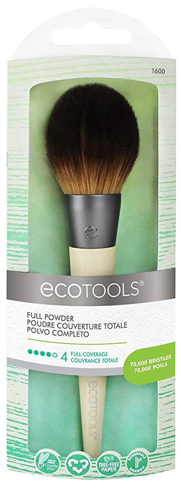 Ecotools Cruelty Free and Eco Friendly Full Powder Brush Made With Recycled Aluminum Materials and Bamboo Fibers, Designed with a Large, Dense, Incredibly Soft Head for Even Distribution and Blending