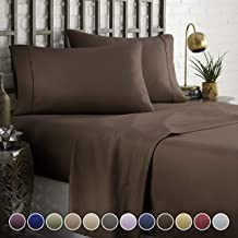HC COLLECTION Hotel Luxury Comfort Bed Sheets Set, 1800 Series Bedding Set, Deep Pockets, Wrinkle & Fade Resistant, Hypoallergenic Sheet & Pillow Case Set(Queen, Brown)