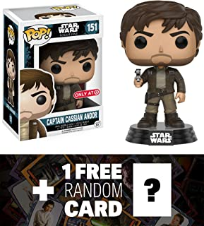 Capitán CASSIAN Andor (Target exclusiva): Funko POP. x Star Wars Rogue One vinilo Bobble-Head Figura w/stand + 1free oficial Star Wars Trading Card Bundle (104517)