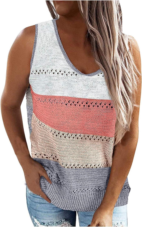 aihihe Women Summer Scoop Neck Knit Cami Tank Tops Color Block Loose Sleeveless Blouse Shirts Tunics