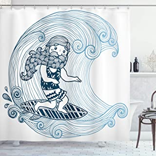 Ambesonne Wave Shower Curtain by, Doodle Surfer with Long Beard on Swirled Waves Surfboard Water Sports, Fabric Bathroom Decor Set with Hooks, 70 Inches, Light Blue Dark Blue White