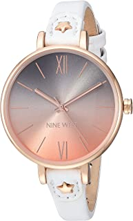 Nine West Women's NW/2124RGWT Rose Gold-Tone and White Strap Watch