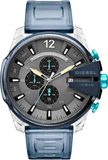 Men's Mega Chief Analog-Quartz Watch with Stainless-Steel-Plated Strap, Blue, 26 (Model: DZ4487)