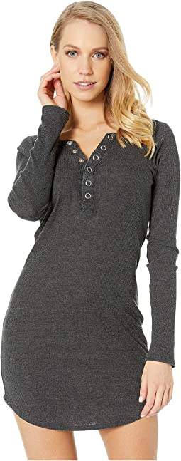 Tri-Blend Rib Henley Shirttail Dress