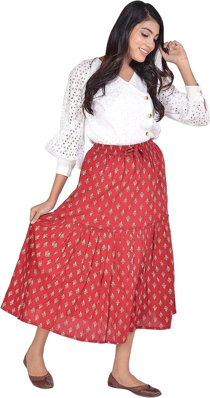 FUTURE HANDMADE Women's Boho Print Elastic High Waist Pleated A Line Midi Skirt with Pockets