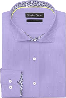 Mens 100% Giza Cotton Regular FIT IRIS Lilac Dobby Shirt for Formal Casual WEAR for Men