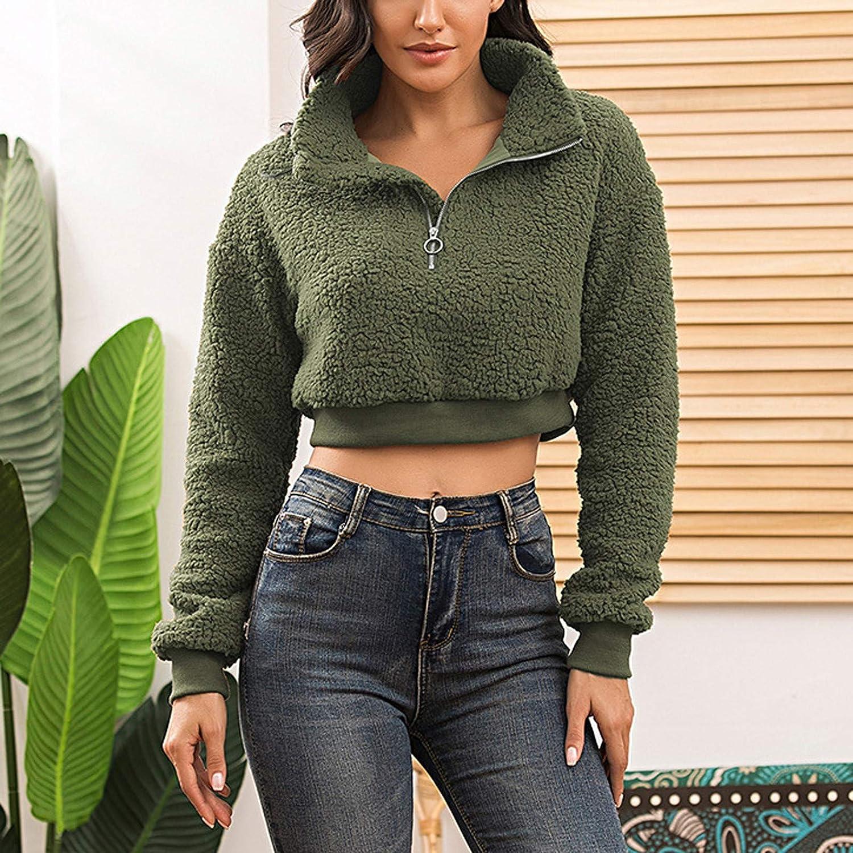 Womens Faux Shearling Fluffy Crop Pullover Tops Girls Fashion Long Sleeve Lapel Half Zip Faux Fur Sweatshirt