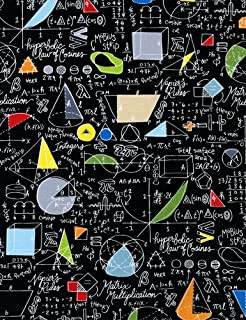 Timeless Treasures Math Fabric, Symbols on Chalkboard, Back to School, by The Yard