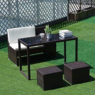 ガーデンソファー 4点セット ラタン調 ガーデンファニチャー 4点 組立不要 100%完成品 ガーデンテーブル ガーデンチェアー ラタン調 テーブル 家具 樹脂 テラス ソファ 日本発送 2-4日配達可