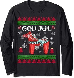 God Jul Ugly Christmas Long Sleeve Scandinavian Dala Horse