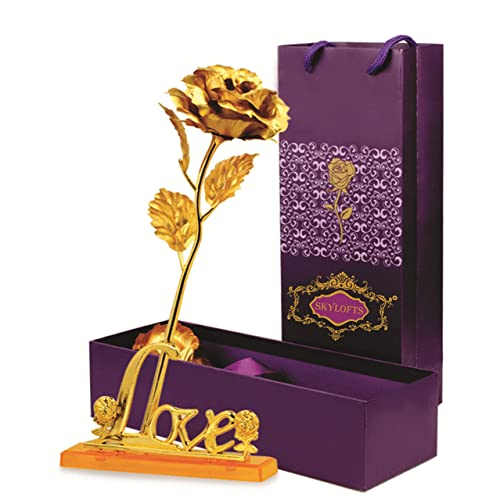 Skylofts 24K Golden Rose With Love Stand Gift Box And Carry Bag