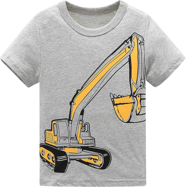 Moon Tree Boys Cotton Long Sleeve T Shirts Cartoon Shirt Crew Neck Tees Excavator 2 Pack