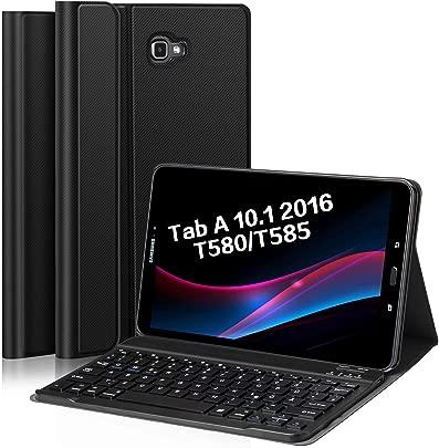 Earto Bluetooth Tastatur H lle f r Samsung Galaxy Tab T580 T585 10 1 Zoll 2016 Tablet-PC Hochwertiges PU-Leder Tablet H lle mit magnetisch Abnehmbarer Deutscher Bluetooth Tastatur schwarz Schätzpreis : 34,98 €