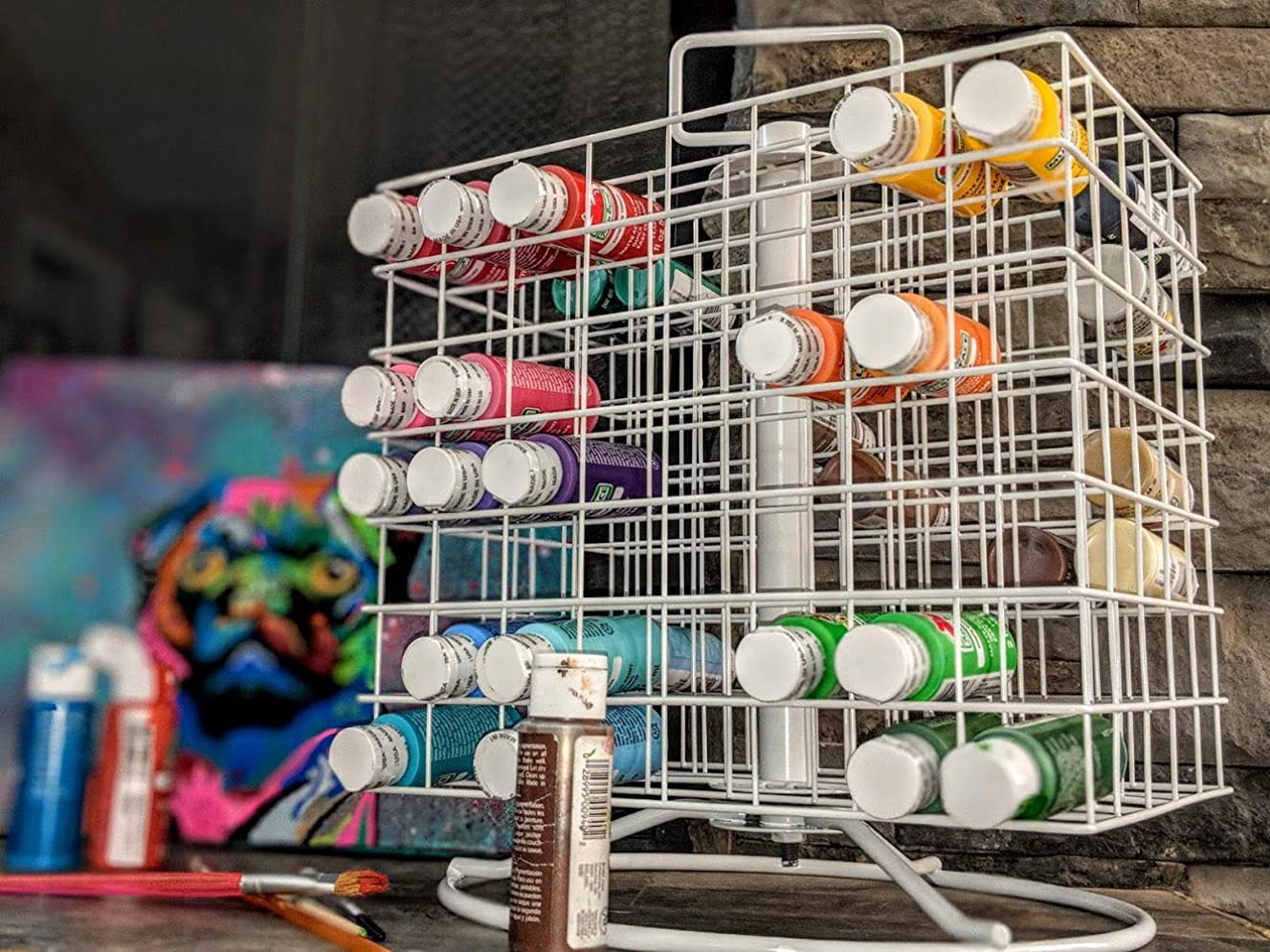 Craft Paint Storage Rack For 2oz Acrylic Paints, Revolving Acrylic Craft Paint Coated-Wire Caddy, Holds 112 2-Ounce Bottles, Portable