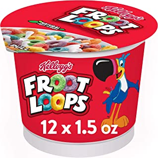 Kellogg's Froot Loops, Breakfast Cereal in a Cup, Original, Low fat, Single Serve, 1.5 oz Cup, Pack of 12