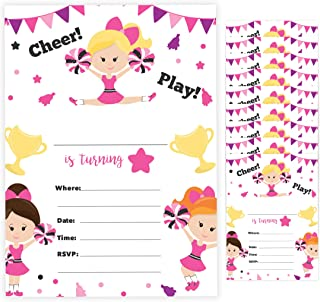 Cheerleading Style 2 Cheerleader Happy Birthday Invitations Invite Cards (10 Count) with Envelopes Boys Girls Kids Party (10ct)