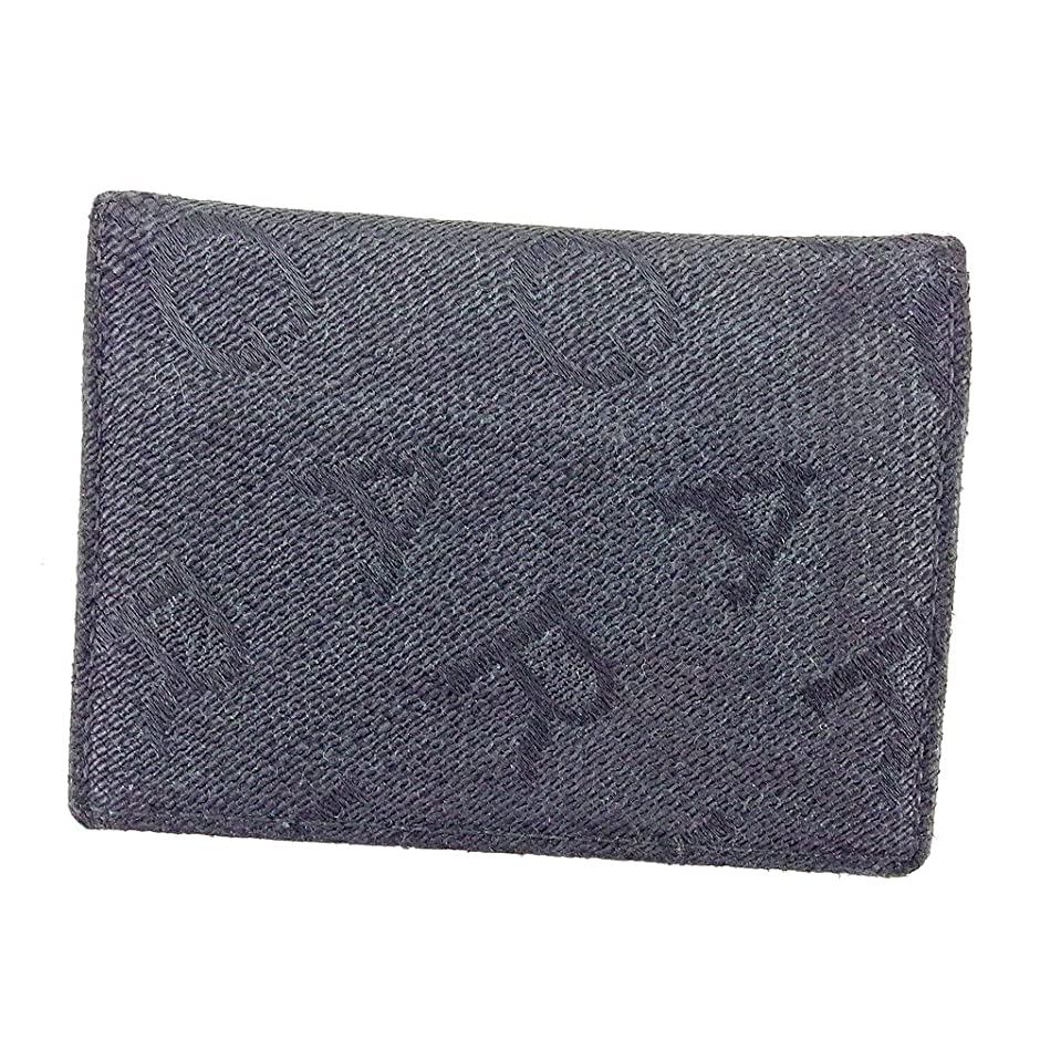 摘む郵便屋さん先見の明(ブルガリ) Bvlgari カードケース 名刺入れ ブラック 黒 ロゴグラム メンズ可 中古 T5816