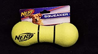 Nerf Dog Max Court Barbell Dog Toy with Interactive Squeaker, Lightweight, Durable and Water Resistant, 7 Inches, For Medi...