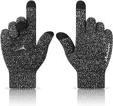 دستکش بافتنی دستکش زمستانی Achiou روی صفحه نمایش لمسی حرارتی گرم و نرم الاستیک الاستیک متن کشیدن ضد لغزش 3 سایز انتخاب اندازه برای آقایان