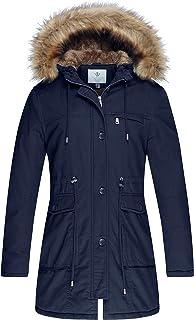 WenVen Women's Fleece Cotton Military Coat Black