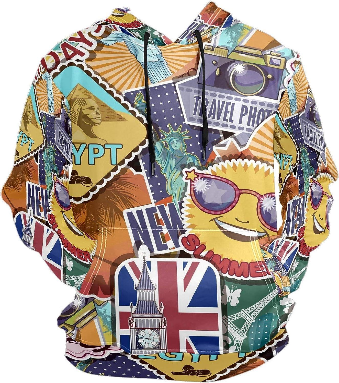 Travel London New York Stickers Mens Sport Hoodie Big and Tall Hoodies for Men Women Oversized Hooded Sweatshirt Hip Hop Pullover Hoodie Midweight Hood for Boys Girls