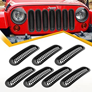 Vplus Jeep Grille Mesh Grill Insert Grille Guard Front Compatible with Jeep Wrangler JK 2007-2017 (7PCS)