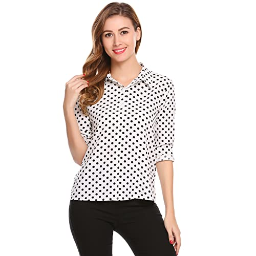 39c5ff407 White and Black Polka Dot Shirt  Amazon.com