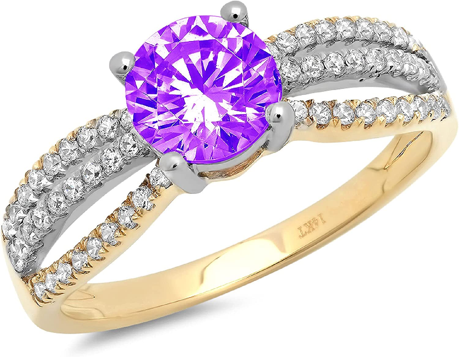 1.25 ct Round Cut Solitaire accent Purple Max 78% OFF Natural Gem Amethyst S OFFicial