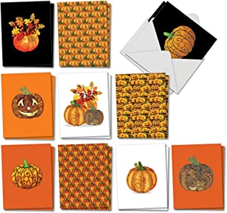 The Best Card Company Artful Pumpkins - 20 Assorted Boxed Halloween Note Cards with Envelopes (4 x 5.12 Inch) - Featuring Various Assorted Unique Decorated Halloween Pumpkins AM2922HWG-B2x10