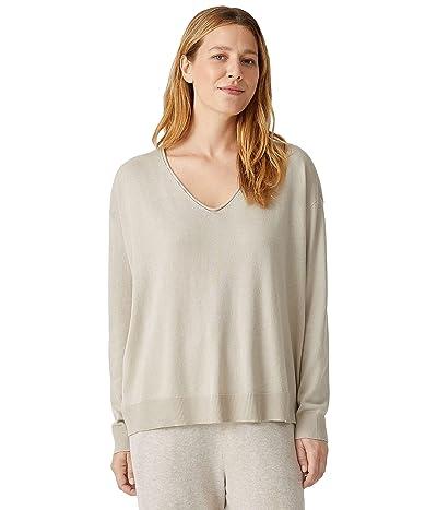 Eileen Fisher Boxy Pullover Sweater in Peruvian Organic Cotton Tencel