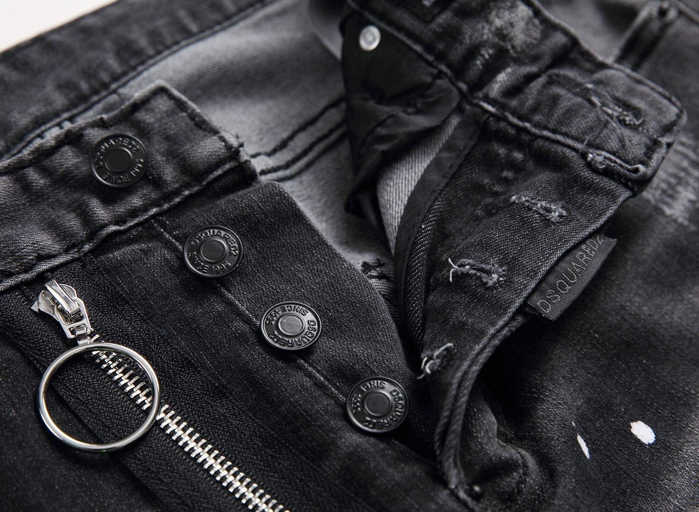 Jeans Skinny Européen Italie Designer Street Style Mode Noir Hommes Marque Jeans Pantalon Slim Top Qualité Trou Crayon Bouton Denim Pantalon Livraison Gratuite 1052