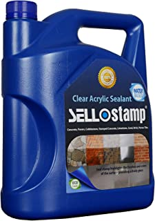 Sello Stamp - Clear Acrylic Sealant (1 Gal) Livens The Surface Color, Water-Based, Eco Friendly, Water Resistant, Low Odor Perfect for Indoor & Outdoor Use On Any Porous Surface