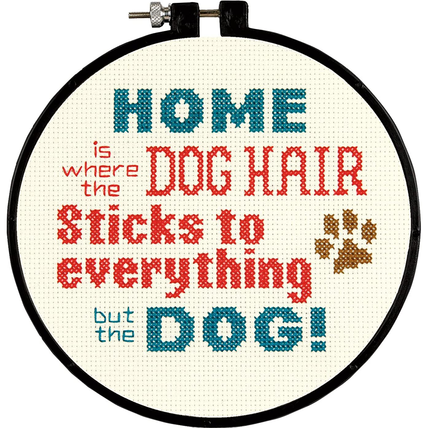 Dimensions 14 Count Stitch Wits Pet Hair Mini Counted Cross Stitch Round Kit, 6-Inch