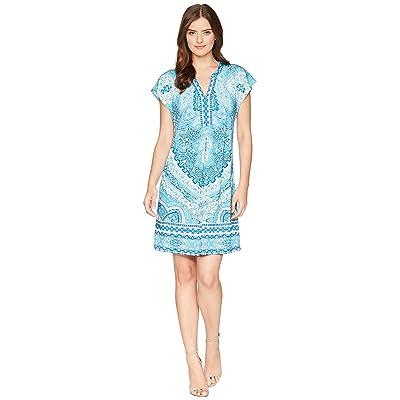 Hale Bob Modern Mosaic Microfiber Jersey Dress (Blue) Women