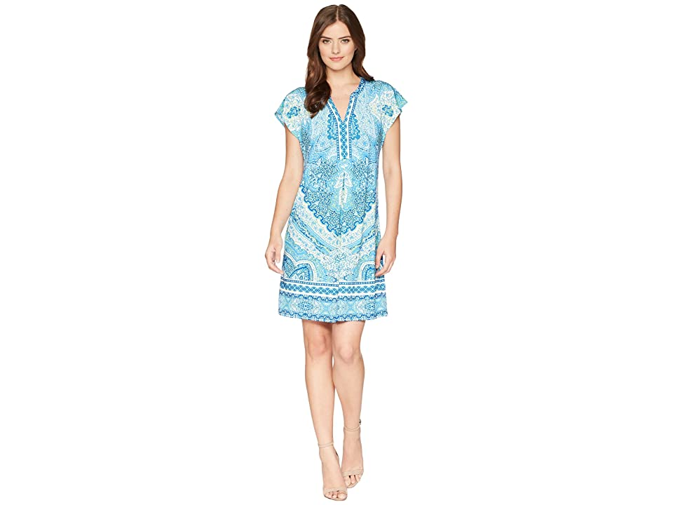 Hale Bob Modern Mosaic Microfiber Jersey Dress (Blue) Women