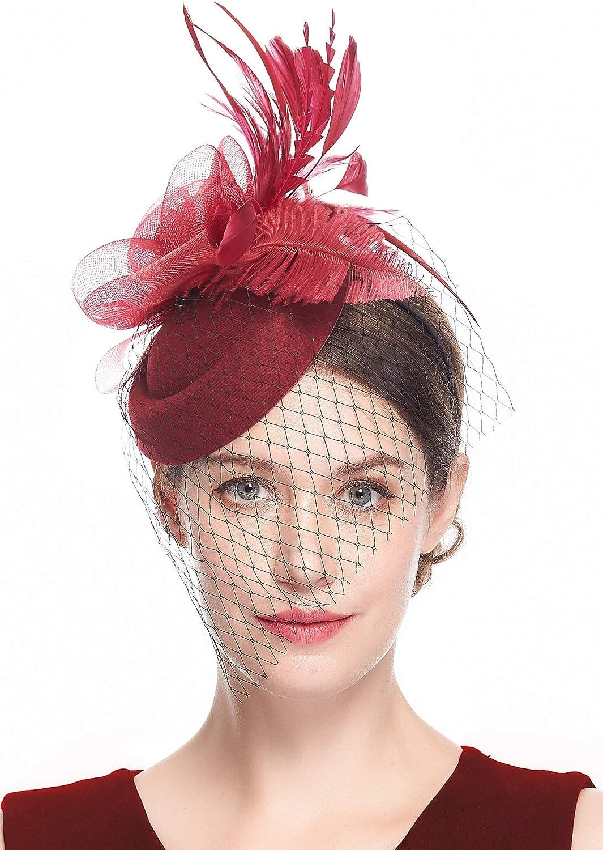 Cizoe 20s 30s 50s Vintage Headwear Costume Hats Fascinators Hats for Women Pillbox Hat Bowler Wedding Party Hat Tea Hat