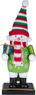 Clever Creations Traditional Christmas Snowman Nutcracker Holding Gift   6
